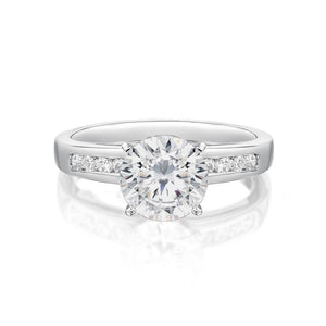 Channel and Claw Set Round Brilliant Engagement Ring in White Gold