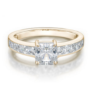 Princess Channel and Claw Set Ring in Yellow Gold