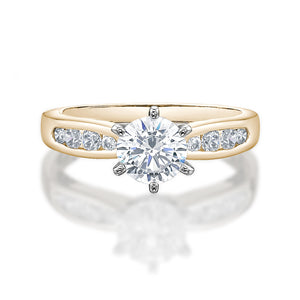 Claw and Channel Set Engagement Ring in Yellow Gold w/ White Gold Setting