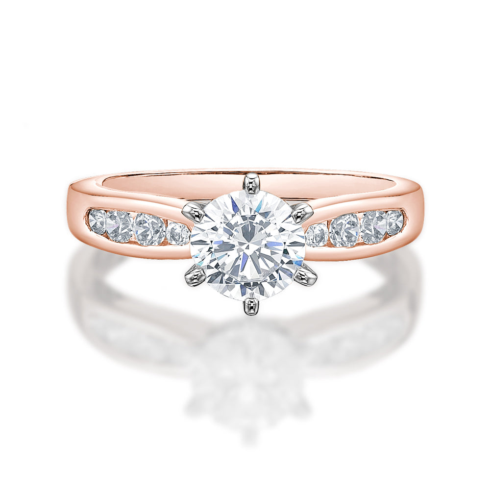Claw and Channel Set Engagement Ring in Rose Gold with White Gold Setting