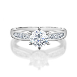 Claw and Channel Set Engagement Ring in White Gold