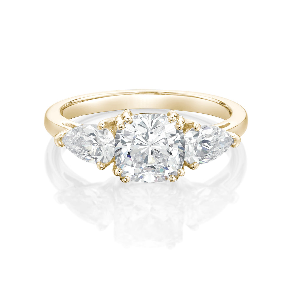 Cushion Cut Ring with Pear Stones in Yellow Gold