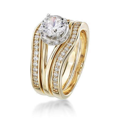 Large Split Band Solitaire Wedding & Eternity Set in Yellow Gold w/ White Gold Setting