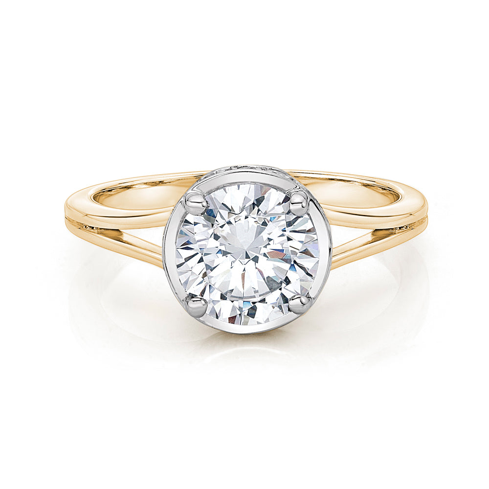 Large Split Band Solitaire with Grain Set Detail in Yellow Gold w/ White Gold Setting