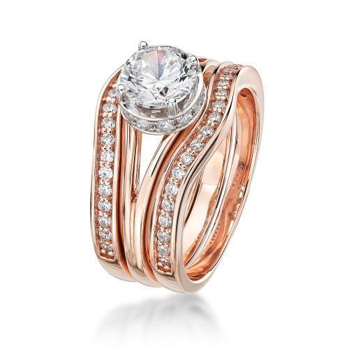Large Split Band Solitaire Wedding & Eternity Set in Rose Gold w/ White Gold Setting