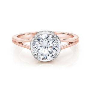 Large Split Band Solitaire with Grain Set Detail in Rose Gold w/ White Gold Setting
