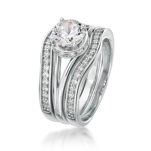 Large Split Band Solitaire Wedding & Eternity Set in White Gold