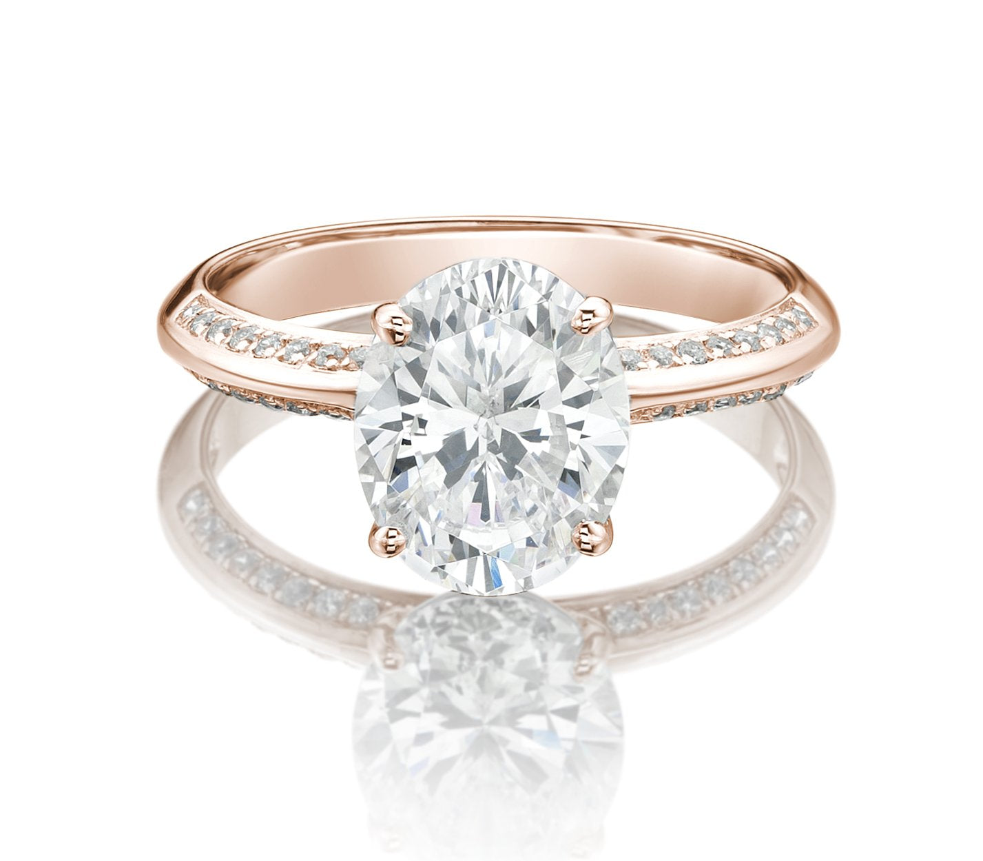 Oval Cut Knife Edge Engagement Ring with Side Stones in Rose Gold