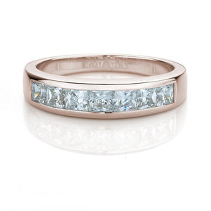 Princess Cut Channel Set Wedding Band in Rose Gold