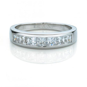 Princess Cut Channel Set Wedding Band in White Gold