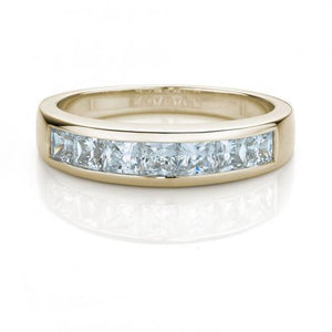 Princess Cut Channel Set Wedding Band in Yellow Gold