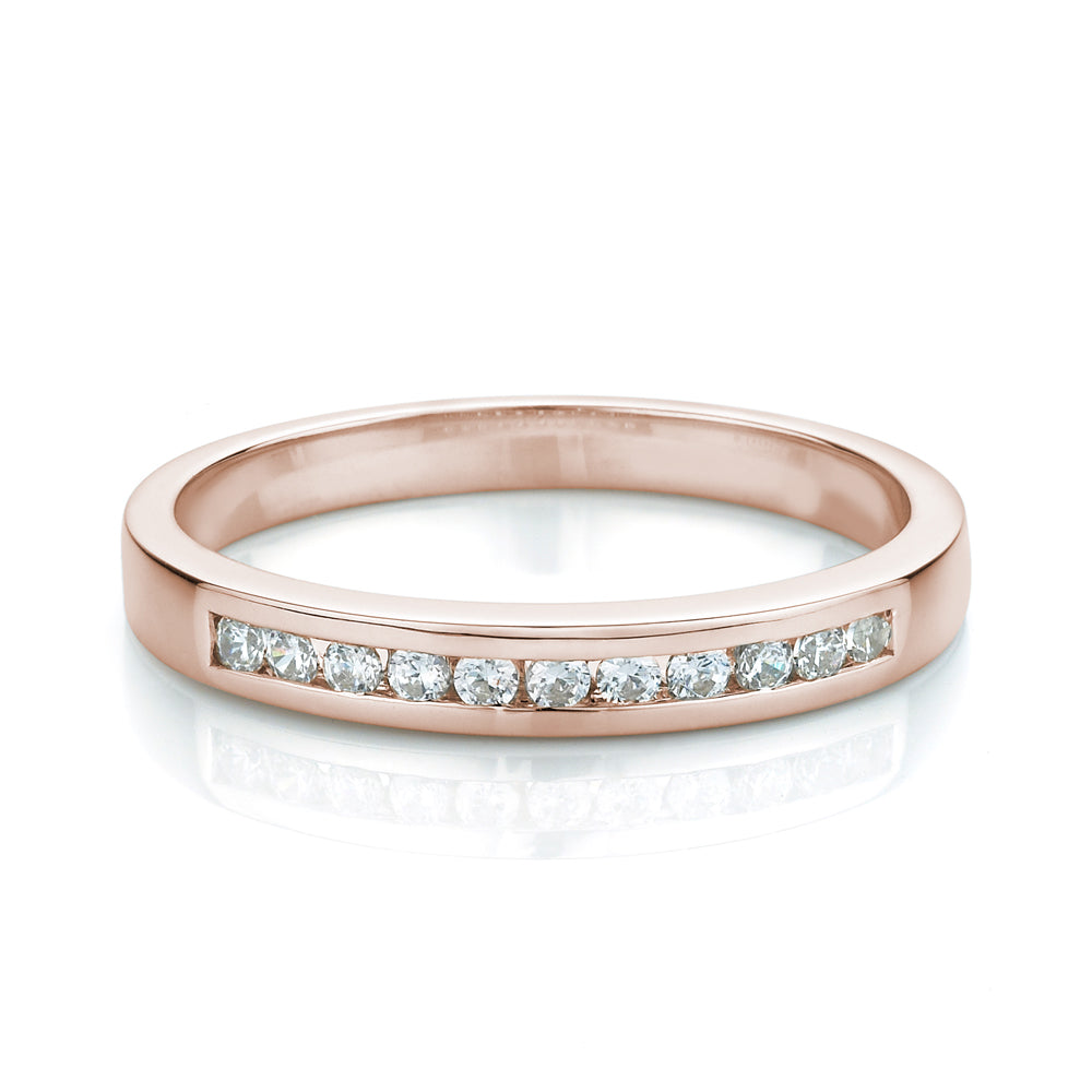 Brilliant Cut Fine Channel Set Band in Rose Gold