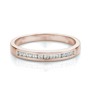 Princess Cut Channel Set Ring and Band Set in Rose Gold w/ White Gold Setting
