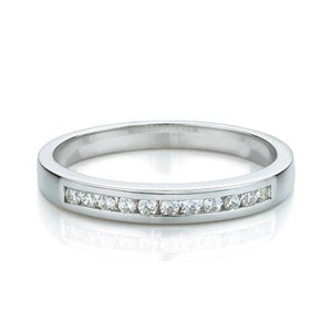 Princess Cut Channel Set Ring and Band Set in White Gold