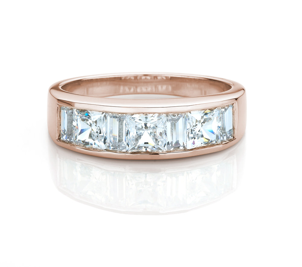 Princess and Baguette Channel Set Band Rose Gold