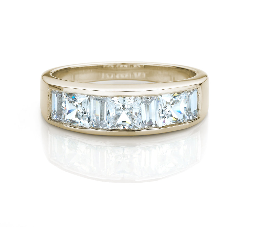 Princess and Baguette Channel Set Band Yellow Gold