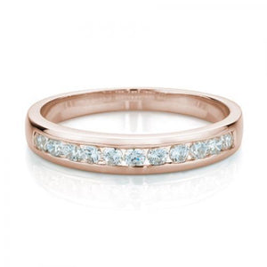 Round Brilliant Channel Set Ring in Rose Gold