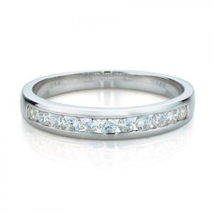 Round Brilliant Channel Set Ring in White Gold