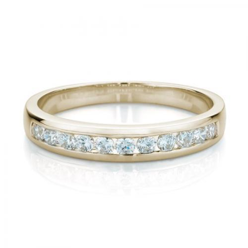 Round Brilliant Channel Set Ring in Yellow Gold