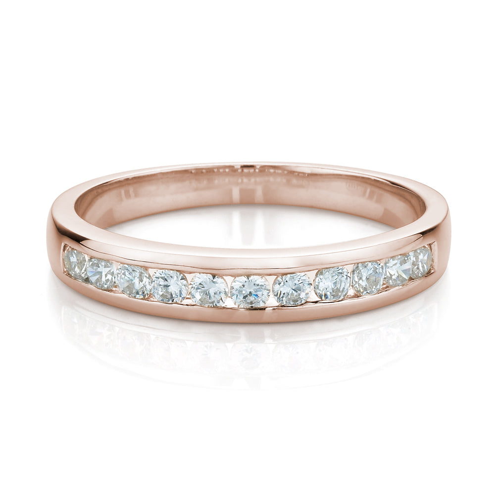 Wide Brilliant Cut Channel Set Band in Rose Gold