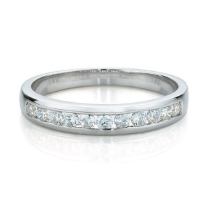 Wide Brilliant Cut Channel Set Band in White Gold
