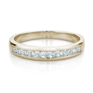 Wide Brilliant Cut Channel Set Band in Yellow Gold