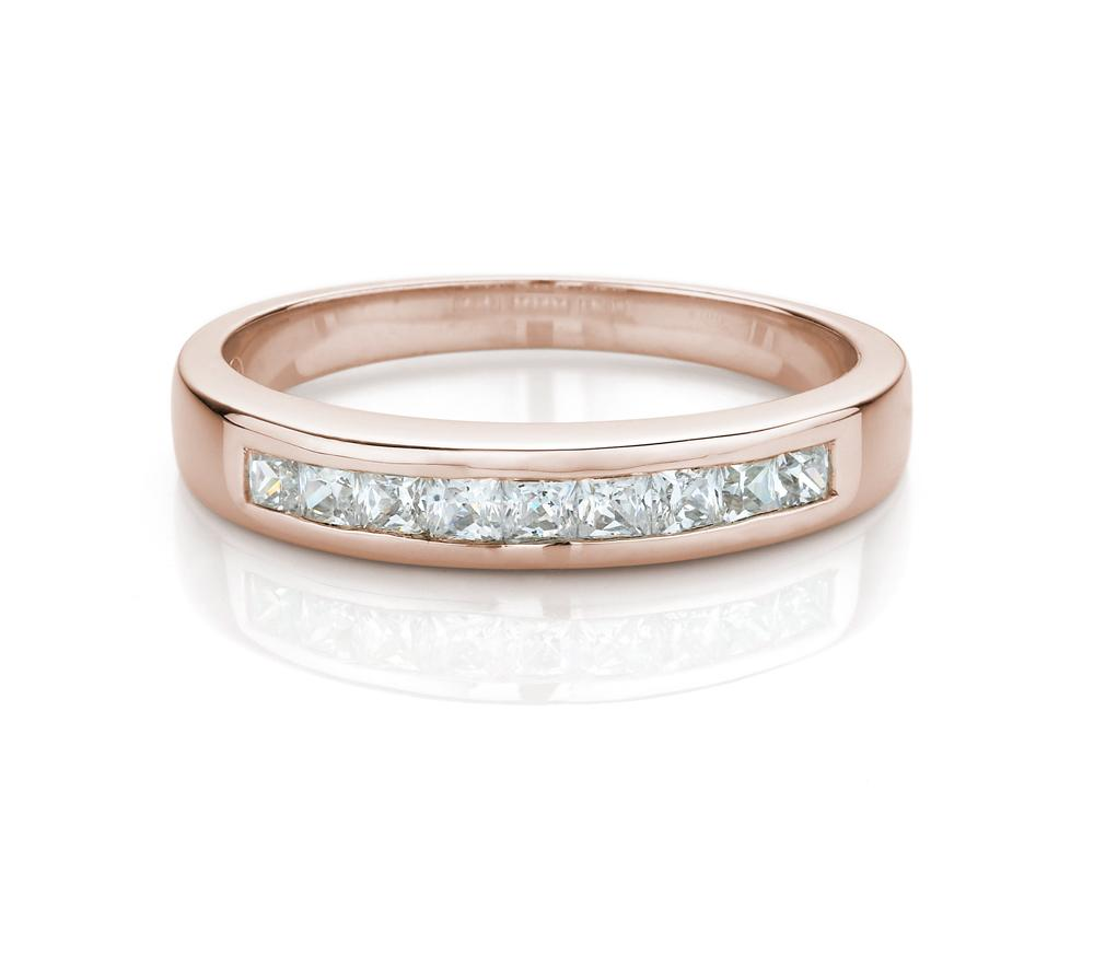 Princess Channel Set Band in Rose Gold