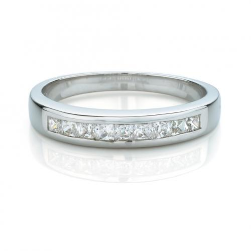 Princess Channel Set Band in White Gold