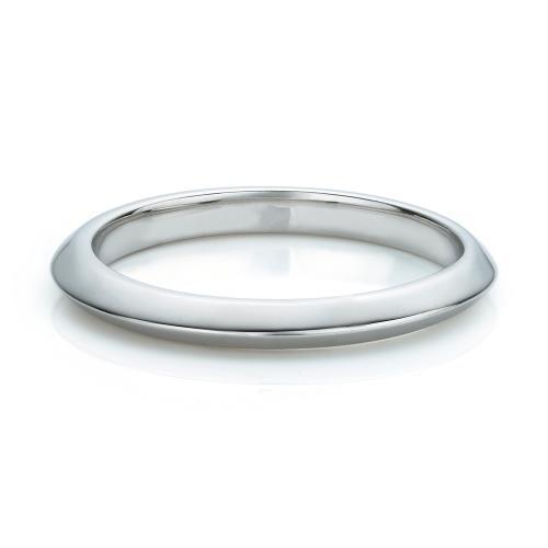Knife Edge Wedding Band in White Gold