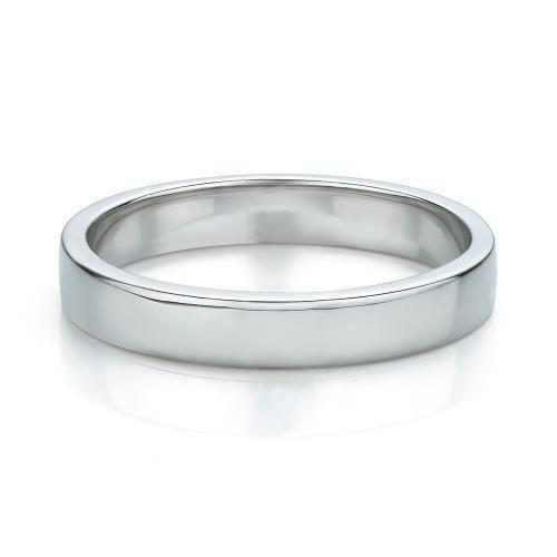 Flat Wedding Band in White Gold