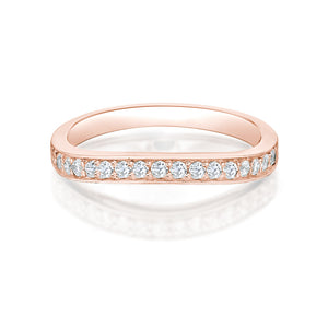 Slight Curve Grain Set Ring Rose Gold