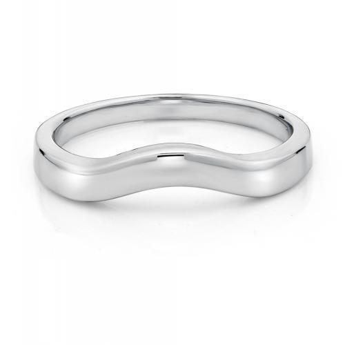 Plain Curved Wedding Band in White Gold