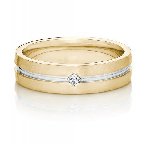 Mens Princess Cut Inlay Band in Yellow Gold w/ White Gold Setting