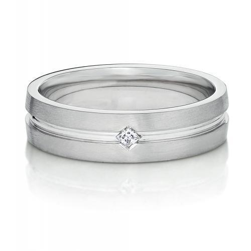 Mens Princess Cut Inlay Band in White Gold