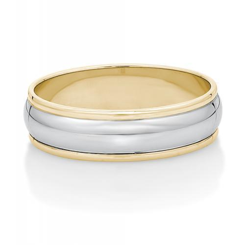 Mens Rounded Band with Edging in Yellow Gold w/ White Gold Setting