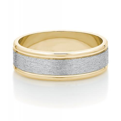 Mens Triple Flat Band in Yellow Gold w/ White Gold Setting
