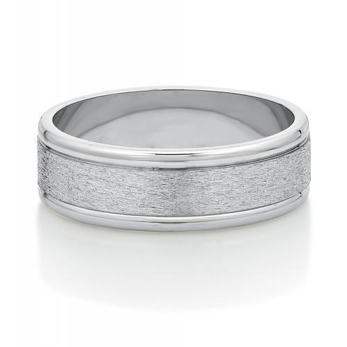 Mens Triple Flat Band in White Gold