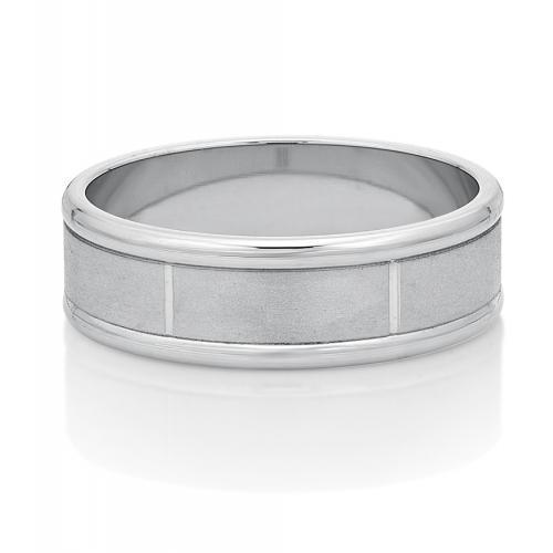 Mens Detailed Flat Band in White Gold
