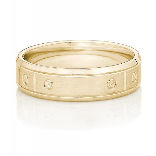 Mens Bolt Design Ring in Yellow Gold