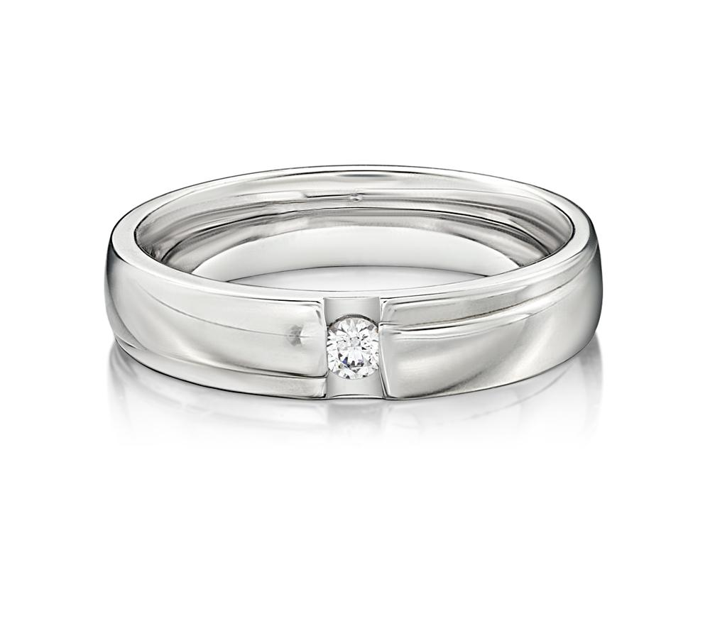 Brilliant Promise Ring - Wide in White Gold