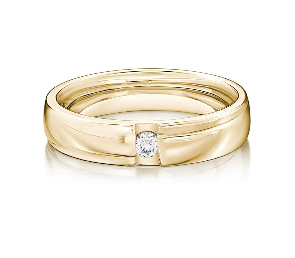 Brilliant Promise Ring - Wide in Yellow Gold