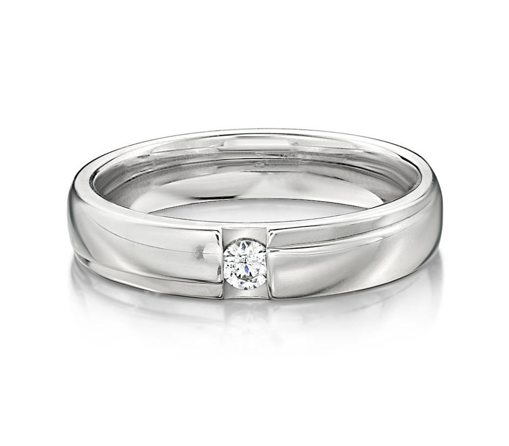 Brilliant Promise Ring - Narrow in White Gold
