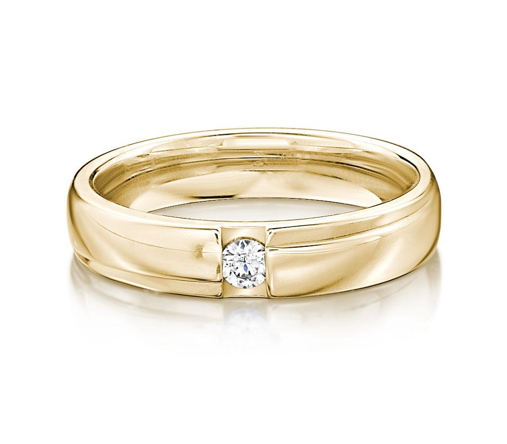 Brilliant Promise Ring - Narrow in Yellow Gold