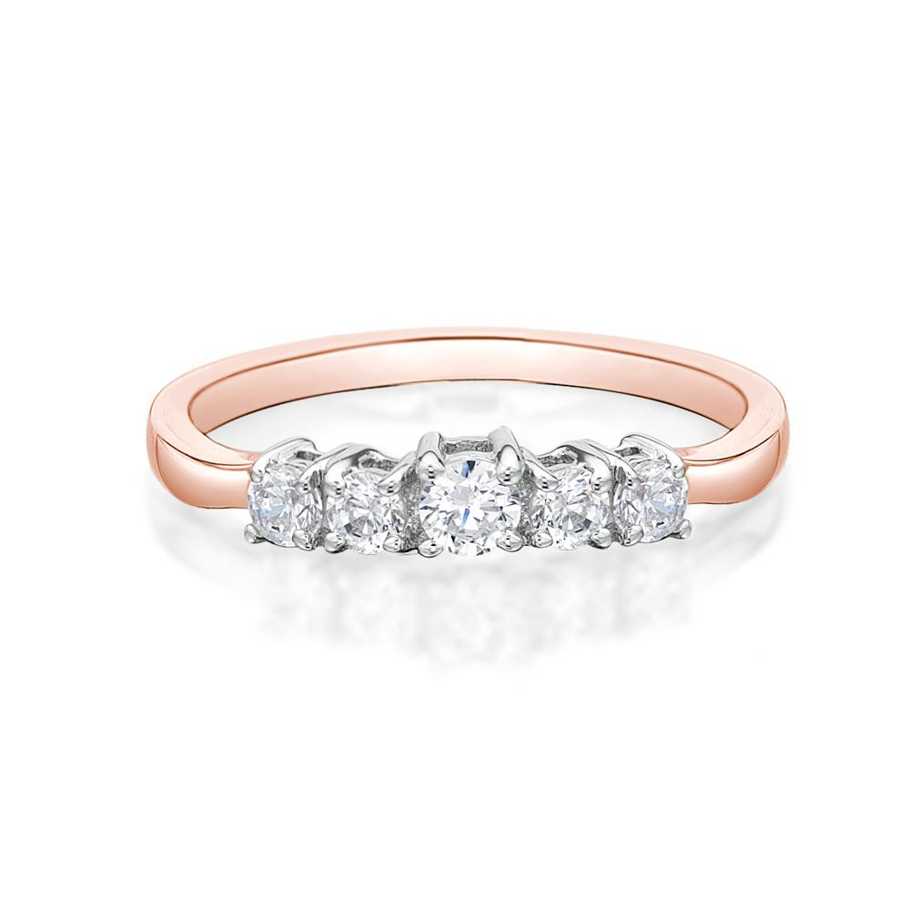 5 Stone Round Brilliant Cut Ring in Rose Gold