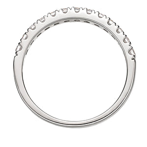 Round Brilliant Claw Set Band in White Gold