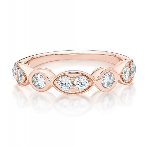 Round Brilliant Cut Bezel Dress Ring in Rose Gold