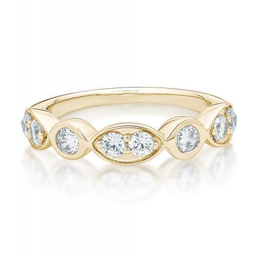 Round Brilliant Cut Bezel Dress Ring in Yellow Gold