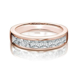 Channel Set Princess Cut Band in Rose Gold