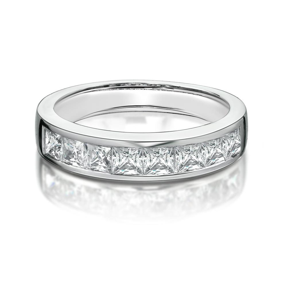 Channel Set Princess Cut Band in White Gold