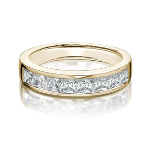 Channel Set Princess Cut Band in Yellow Gold